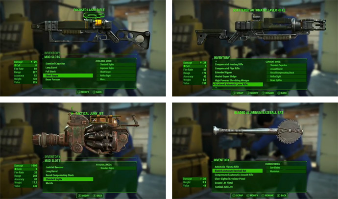 Оружие и его модификация в Fallout 4